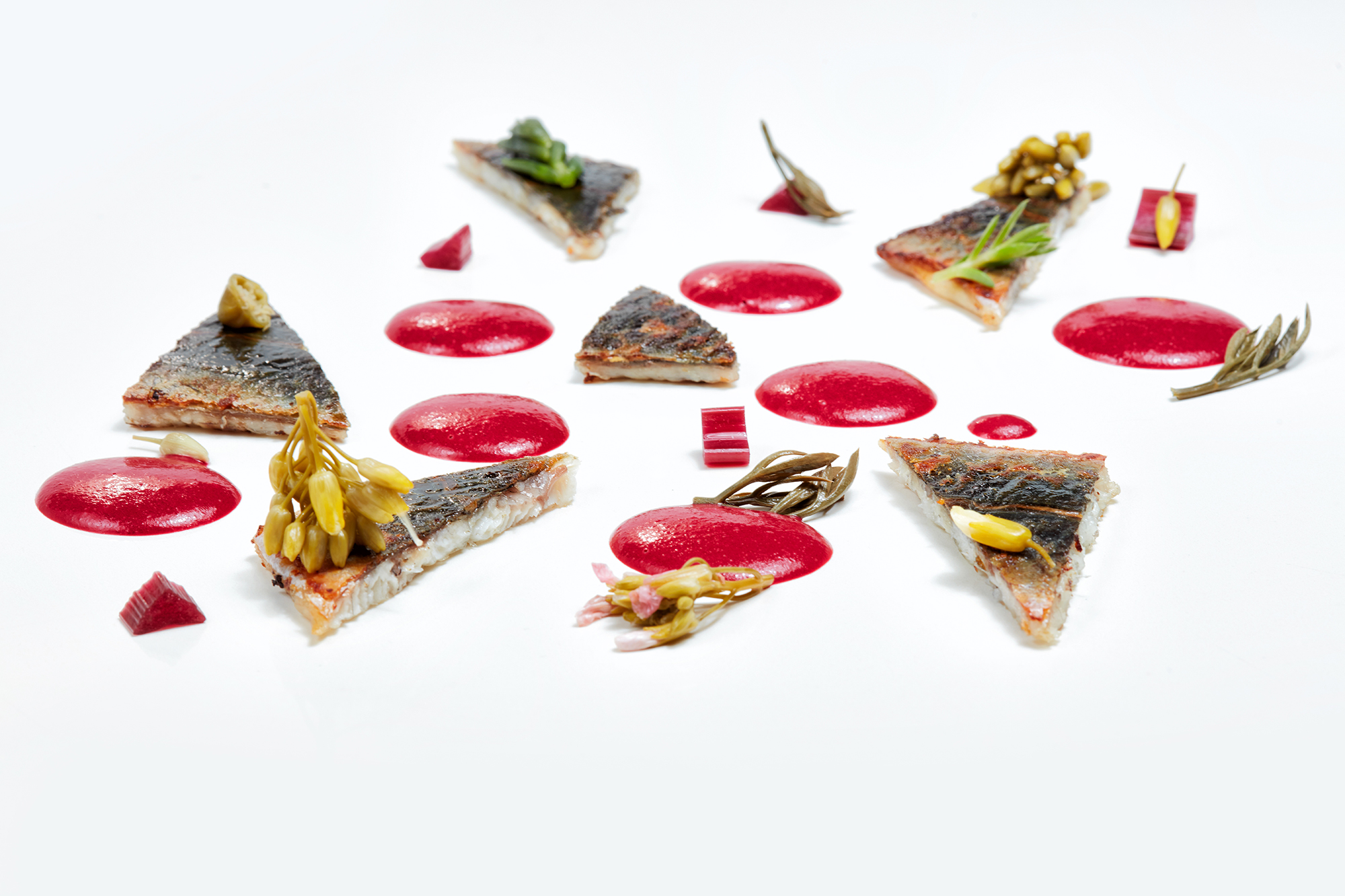 Eel and beet with pickled sprouts
