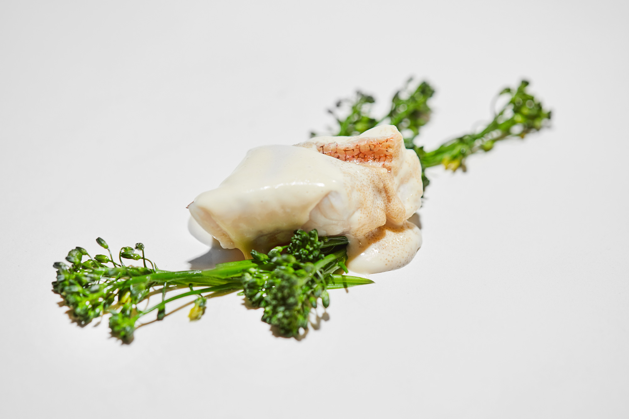 Steamed red scorpion fish with its emulsion, its roe and sea fennel